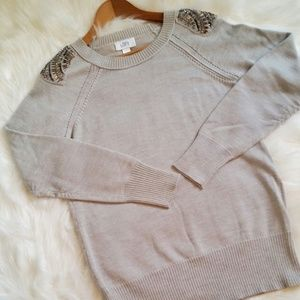 Ann Taylor Loft Embroidered Sweater - Gray - Large